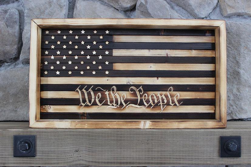 AMERICAN WE THE PEOPLE NATURAL BURN FLAT FLAG