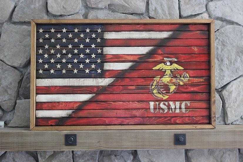 HALF AMERICAN/HALF MARINE FLAT FLAG