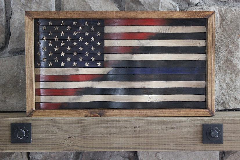 HALF AMERICAN/HALF THIN BLUE LINE BLACK & WHITE WAVY FLAG