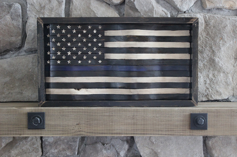 THIN BLUE LINE BLACK & WHITE WAVY FLAG
