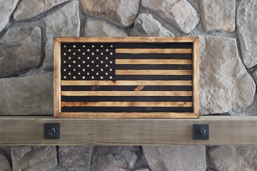 AMERICAN NATURAL BURN FLAT FLAG