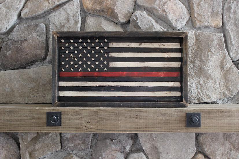 THIN RED LINE BLACK & WHITE FLAT FLAG