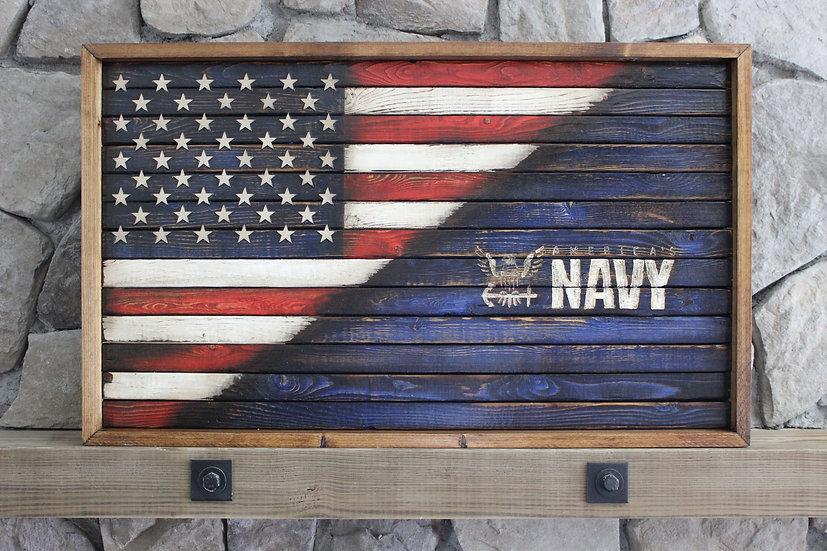 HALF AMERICAN/HALF NAVY FLAT FLAG