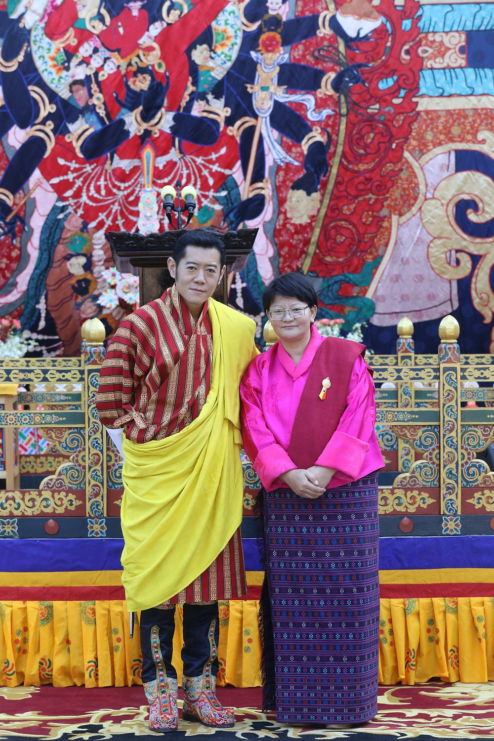 His Majesty The King conferred Dechen Wangmo with the Red Scarf