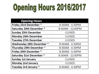 Christmas New Years Opening Hours 2016/17