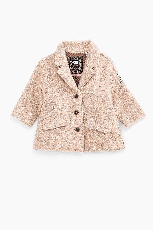 Gechineerd beige baby mantel in gemengdewol