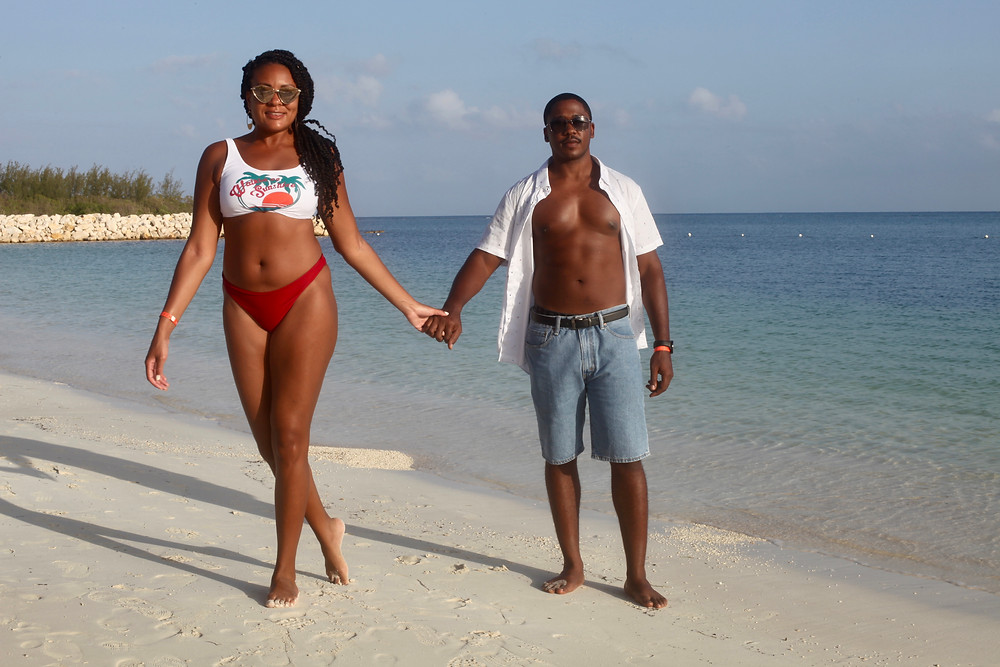 Bahamas, Grand Bahama Island, Swim Suits, swim set, womens bathing suit, mens bathing suit,His and Her, coupes travel, romance, beach, couples travel blog, married couples blog, black travel bloggers, travel vlog