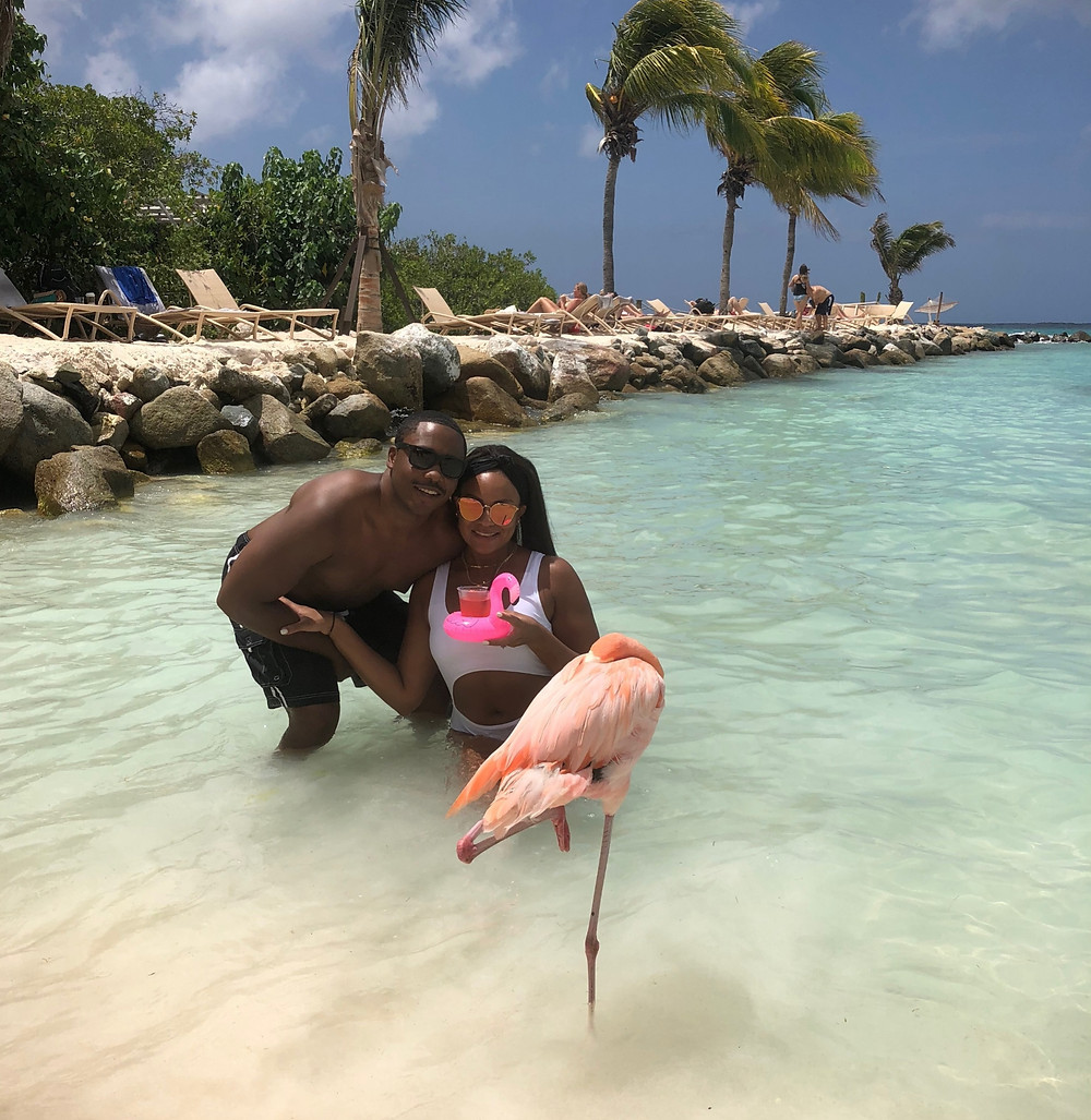 Aruba, coupes travel, romance, anniversary, beach, flamingos, couples travel blog, married couples blog, black travel bloggers, travel vlog