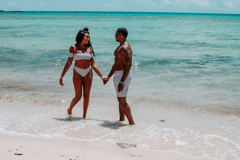 Bahamas, Grand Bahama Island, Swim Suits, swim set, womens bathing suit, mens bathing suit,His and Her, coupes travel, romance, beach, couples travel blog, married couples blog, black travel bloggers, travel vlog