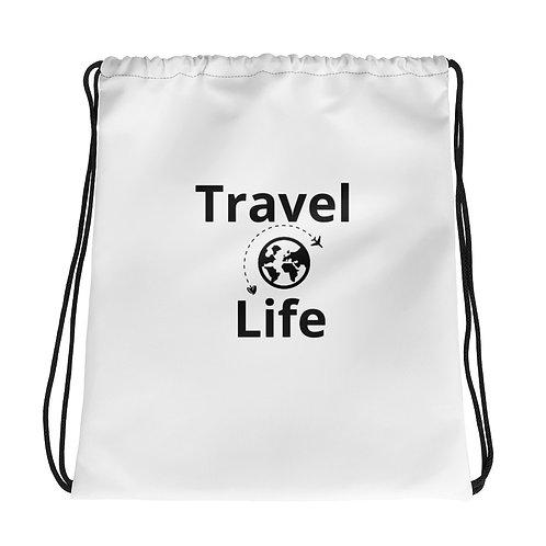 """Travel Life"" Drawstring bag"