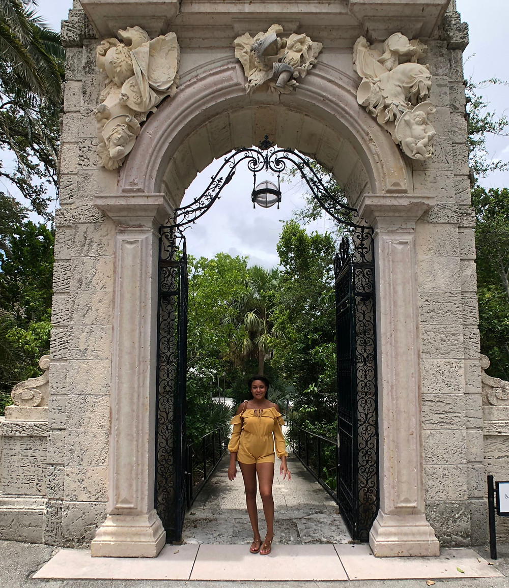 vizcaya museum and gardens, coupes travel, romance, anniversary, beach, flamingos, couples travel blog, married couples blog, black travel bloggers, travel vlog