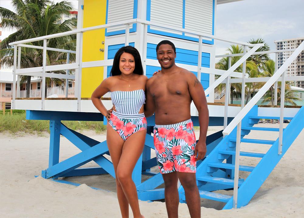 matching his and her swim set, Bahamas, Grand Bahama Island, Swim Suits, swim set, womens bathing suit, mens bathing suit,His and Her, coupes travel, romance, beach, couples travel blog, married couples blog, black travel bloggers, travel vlog