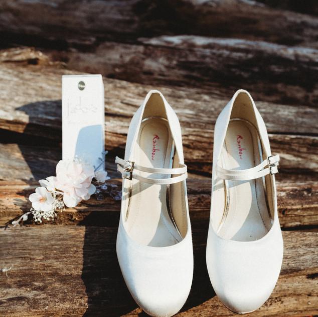 Hochzeitsfoto Detail Schuhe Braut