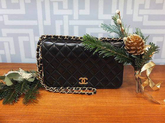 Sac à main Chanel - wallet on chain en cuir noir