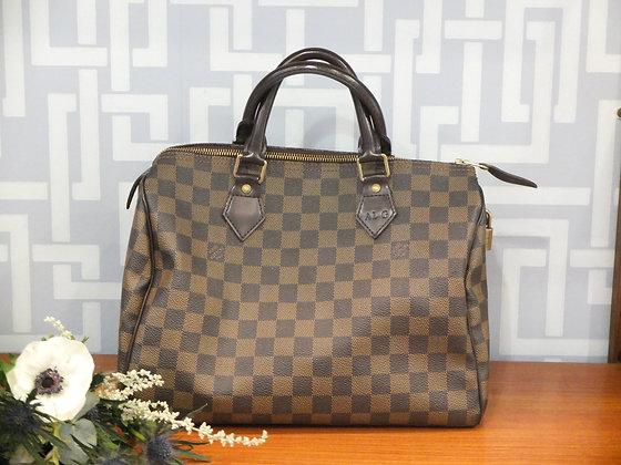 Sac à main Louis Vuitton – Speedy en toile damier et cuir
