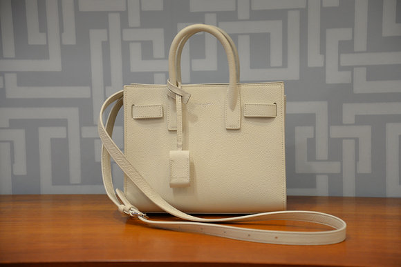 Nano sac de jour Saint Laurent en cuir ivoire