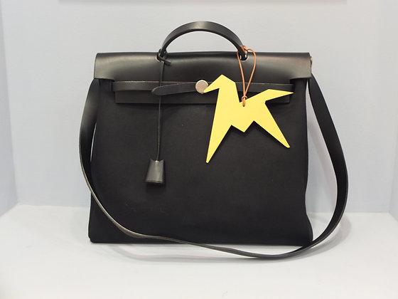 Sac Hermès Herbag en toile et cuir noir