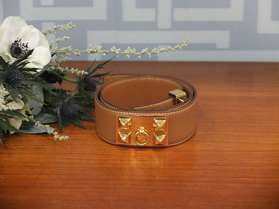Ceinture Hermès Médor en cuir epsom gold