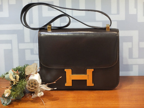 Sac à main Hermès Constance en cuir box chocolat
