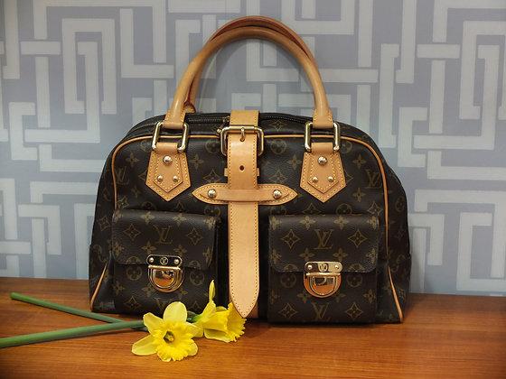 Sac Louis Vuitton Manhattan en toile monogrammée et cuir naturel