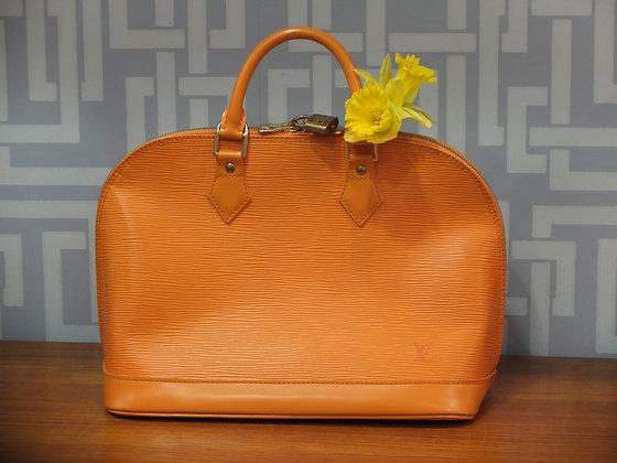 Sac Louis Vuitton Alma en cuir épi orange