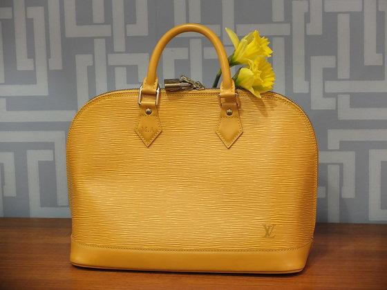 Sac Louis Vuitton Alma en cuir épi jaune