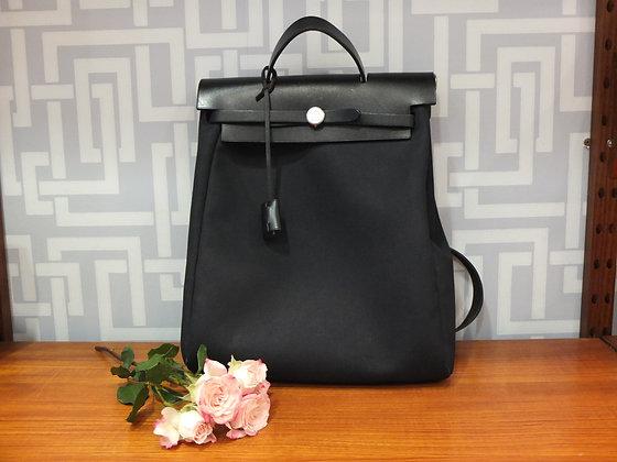 Sac à dos Hermès Herbag en toile et cuir noir