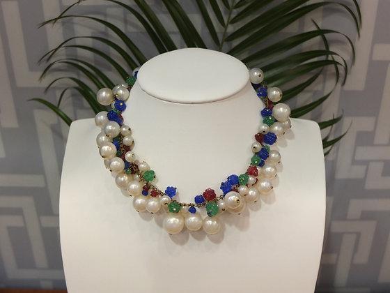Collier ras de cou Dior en perles multicolores