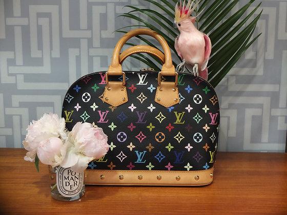 Sac à main Louis Vuitton modèle Alma en toile monogrammée multicolore et noire