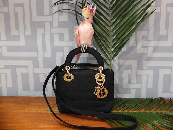 Mini sac à main Lady Dior en toile cannage noire