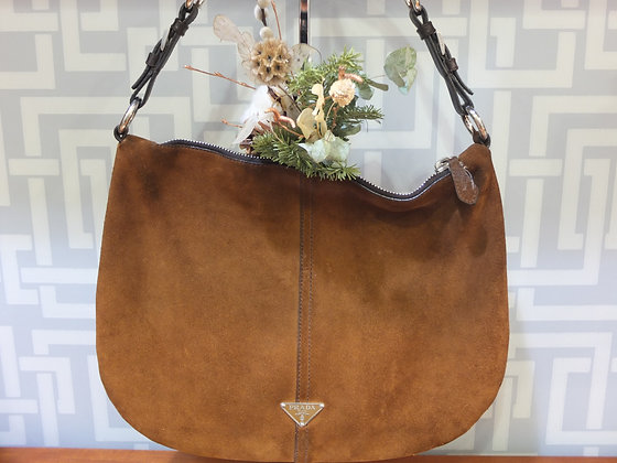Sac à main Prada Hobo en daim marron