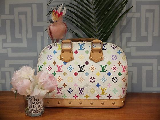 Sac à main Louis Vuitton modèle Alma en toile monogrammée multicolore et blanche