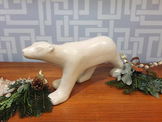 Ours polaire en céramique craquelée