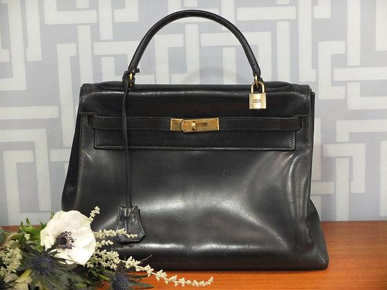 Sac à main Hermès – Kelly 32 cm en cuir box noir
