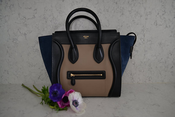 Cabas Céline Luggage tricolore en cuir et daim