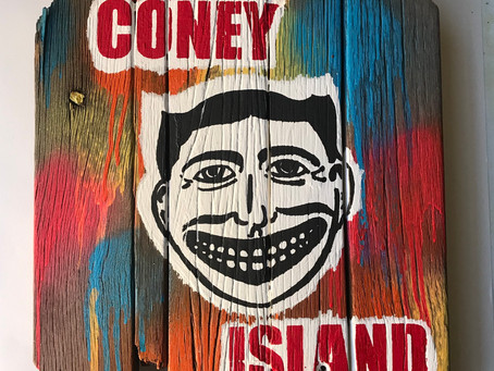 The latest masterpiece! Acrylic and spray-paint on genuine Coney Island board walk, salvaged after t