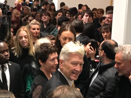 DavidLynch at the opening reception for his show #SqueakyFliesintheMud, SperoneWestwater gallery...