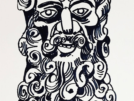 Unearthed an old Mexico sketchbook; drawing of a carved mask fr the folk art museum, Mexico city, ci