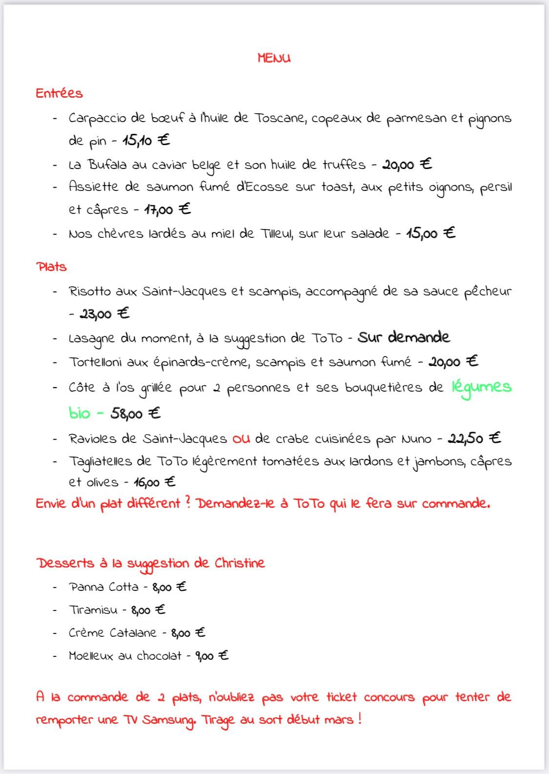 Suggestion menu - Le Rdv Des Amis