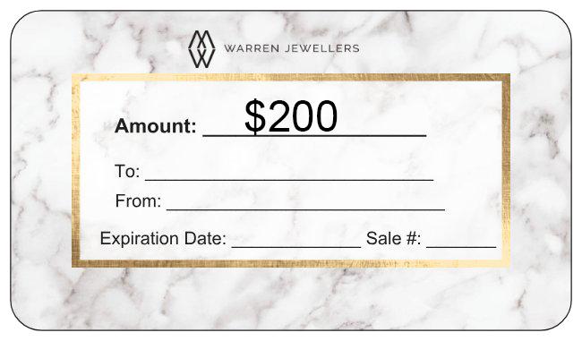 $200 Warren Jewellers Personalized Gift Card