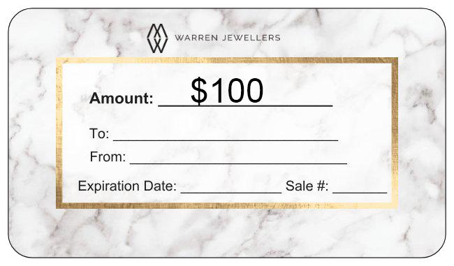 $100 Warren Jewellers Personalized Gift Card