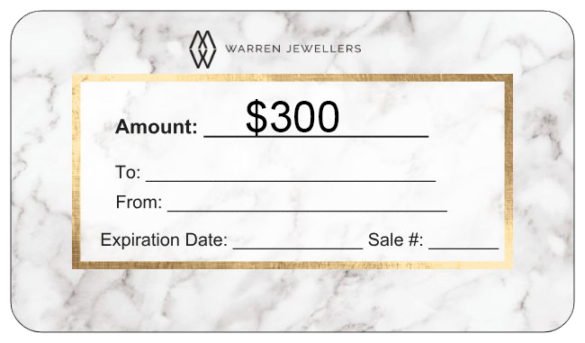 $300 Warren Jewellers Personalized Gift Card