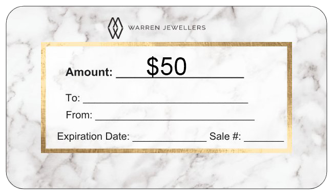 $50 Warren Jewellers Personalized Gift Card