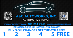 A&C Oil Change Punch Card