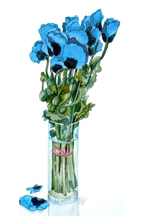Blue Flowers in Vase