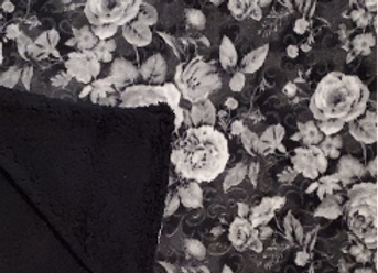 Black & White Vintage Floral Anti-Pill Plush Fleece
