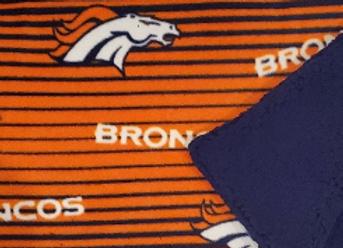 Broncos Linear Fleece Blanket with reverse side Sherpa fur