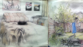 My childhood bedroom and back garden