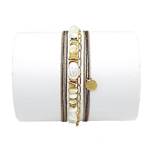 bracelet perle de culture et nacre Loetma