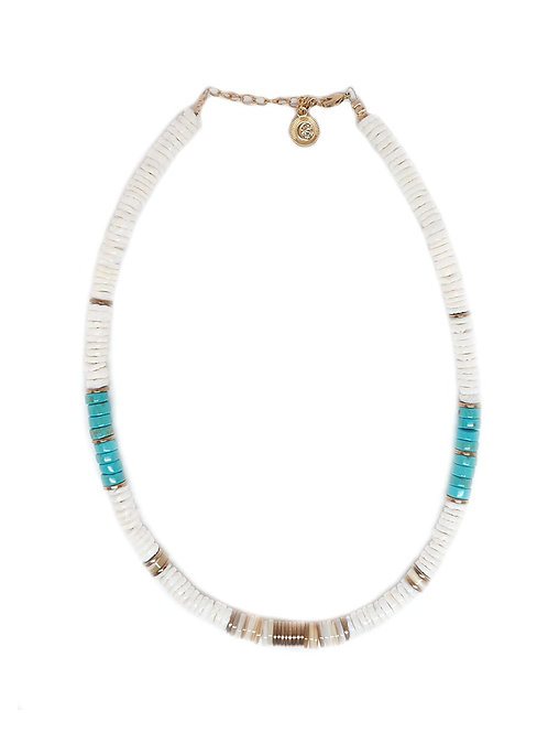 collier turquoises et coquillages pearl karma
